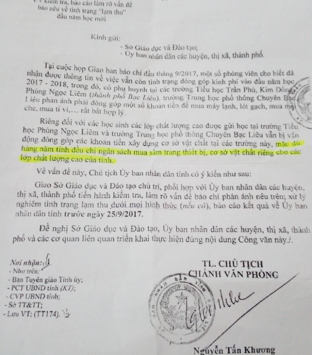 Chỉ đạo của Chủ tịch tỉnh Bạc Liêu yêu cầu Sở GD-ĐT và các địa phương báo cáo tình trạng lạm thu trước ngày 25/9.