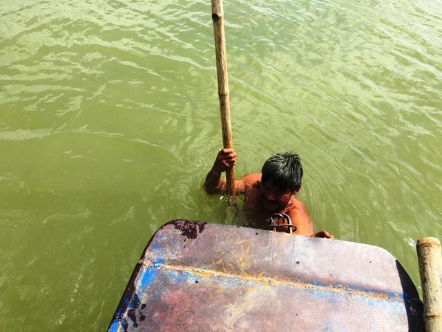 Vị trí vật thể được phát hiện dưới lòng sông Chu