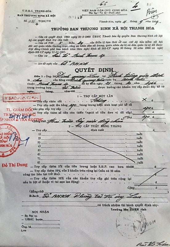 Gia đình thân nhân ông Đinh Quang Biên không có người tên Đinh Quang Lan như trong quyết định nêu