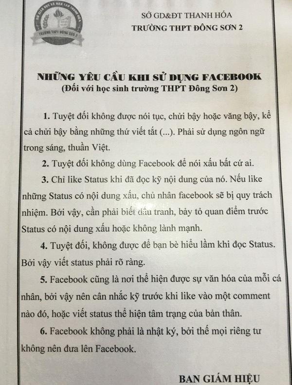 Những yêu cầu đối với học sinh trường THPT Đông Sơn 2 khi sử dụng Facebook