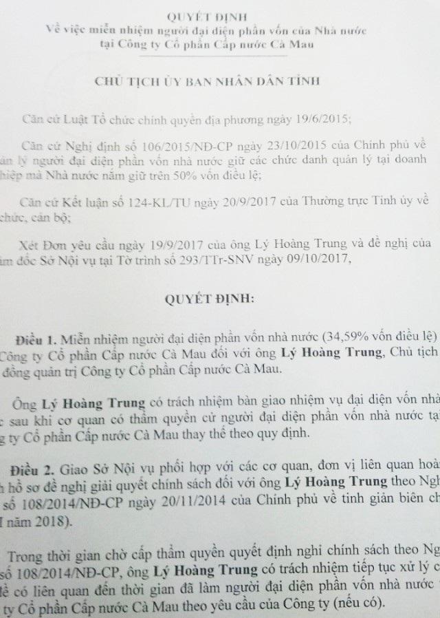 Quyết định miễn nhiệm người đại diện phần vốn Nhà nước tại Cty Cấp nước đối với ông Lý Hoàng Trung.