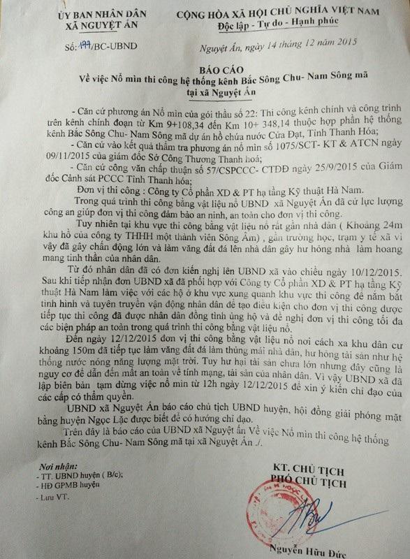 Báo cáo của UBND xã Nguyệt Ấn về việc nổ mìn thi công hệ thống kênh Bắc Sông Chu - Nam Sông Mã tại xã này