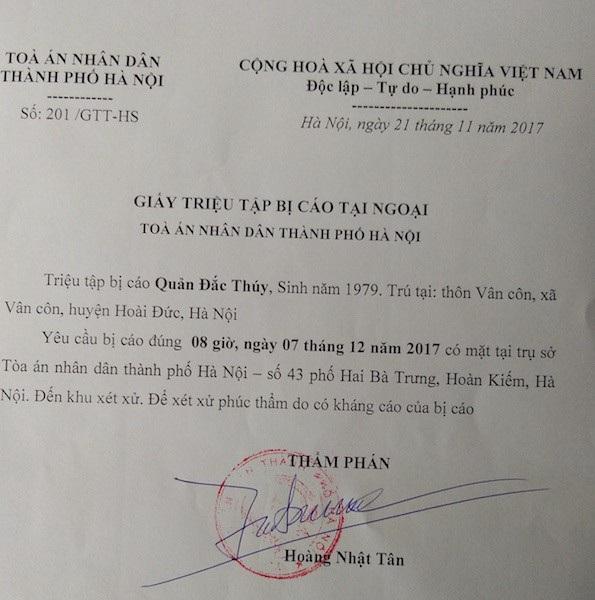 TAND TP Hà Nội chốt lịch xét xử phúc thẩm vụ ly kỳ án vào sáng ngày mai 7/12.