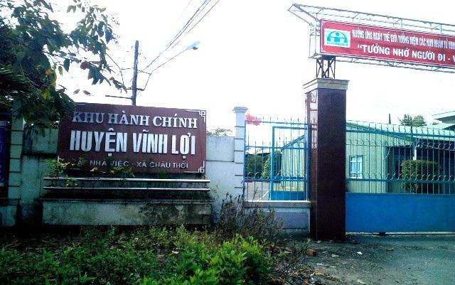 Trụ sở hành chính huyện Vĩnh Lợi (tỉnh Bạc Liêu), nơi có cơ quan Huyện ủy xảy ra vụ việc.