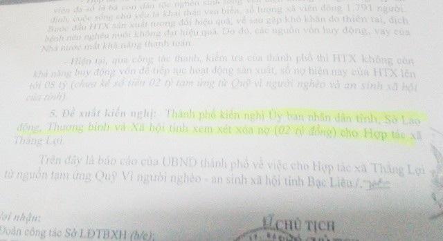 Văn bản báo cáo và đề nghị xóa nợ của UBND TP Bạc Liêu.