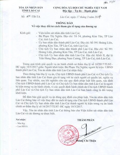 Dân khởi kiện, Toà thay đổi tư cách tố tụng của Chủ tịch TP Lào Cai và Chủ tịch tỉnh Lào Cai.
