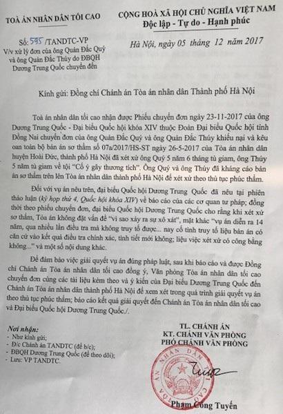 ĐBQH Dương Trung Quốc lên tiếng, Tòa Tối cao chuyển đơn kêu oan vụ khởi tố xong 14 năm mới tuyên án sơ thẩm.