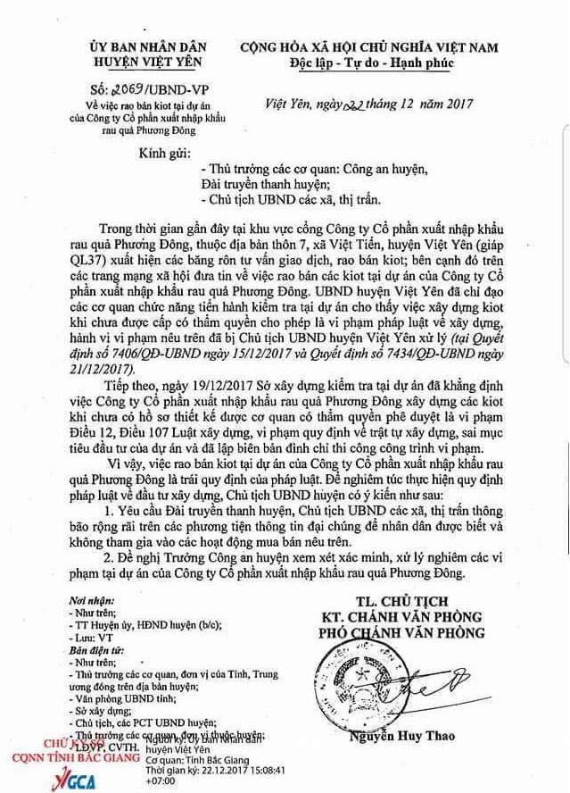 UBND huyện Việt Yên kiên quyết xử lý các sai phạm tại Công ty cổ phần xuất nhập khẩu rau củ Phương Đông.