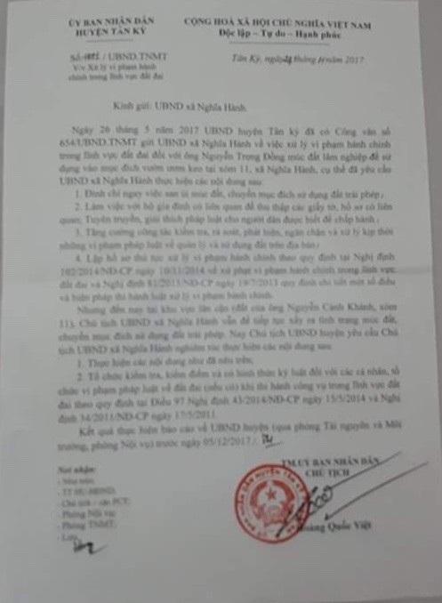 Công văn số 1491 lần thứ hai của UBND huyện Tân Kỳ yêu cầu phải nghiêm túc xử lý vi phạm đất đai