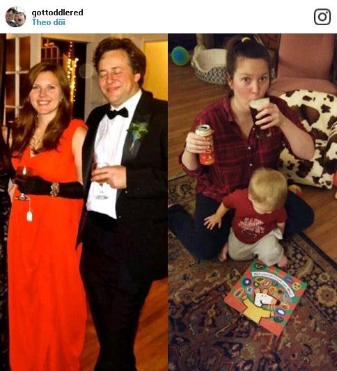 Không còn là những bữa tiệc rượu sang chảnh mà thay vào đó là lu bu với việc chăm con và nhiều lúc, bà mẹ này còn phải hớp vội một cốc bia để lấy lại sự bình tĩnh.