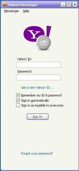 Giao diện đăng nhập của Yahoo Messenger. Với nhiều người dùng Internet tại Việt Nam vào những năm 2000, việc đầu tiên sau khi mở máy tính là đăng nhập vào Yahoo Messenger.