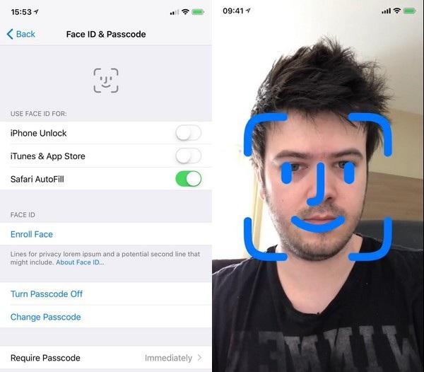 Giao diện thiết lập bảo mật gương mặt Face ID trên iOS 11