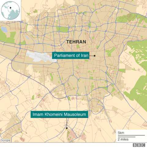 Hai vụ tấn công xảy ra tại quốc hội Iran và lăng mộ của cố lãnh đạo Khomeini (Đồ họa: BBC)