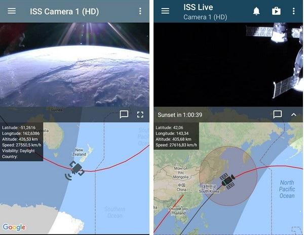 Hình ảnh địa cầu nhìn từ trạm ISS trên ứng dụng vào ban ngày (trái) và vào ban đêm (phải)