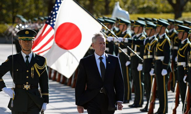 Bộ trưởng Quốc phòng Mỹ James Mattis trong chuyến thăm chính thức tới Nhật Bản hôm 3/2 (Ảnh: EPA)