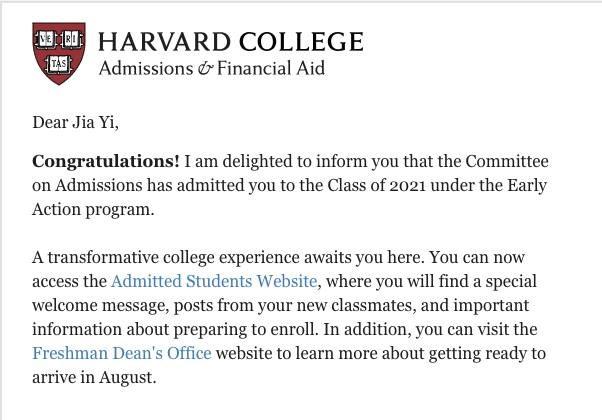 Và thư chấp nhận từ ĐH Harvard (Mỹ) dành cho Jia Yi Lim.