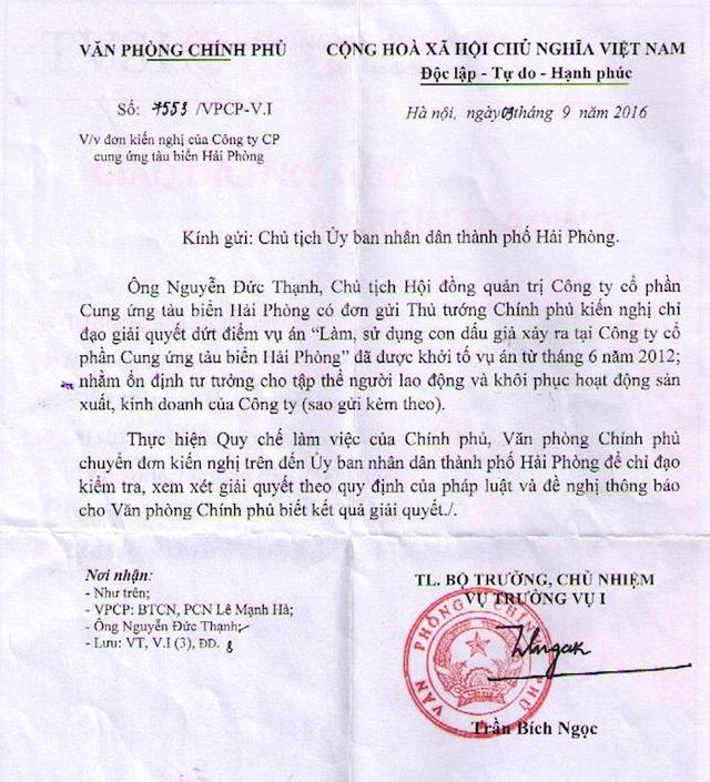 """Văn phòng Chính phủ đề nghị giải quyết vụ án """"Làm, sử dụng con dấu giả của tổ chức tại Hải Phòng."""