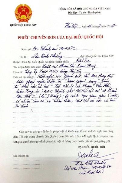 Đại biểu Quốc hội Lưu Bình Nhưỡng đã có phiếu chuyển đơn của luật sư Phan Thị Lam Hồng đến Chánh án TAND Tối cao về nội dung đề nghị cho bị cáo Hải tại ngoại sau gần 5 năm tạm giam.