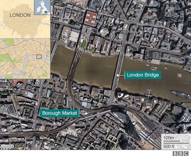 Vụ tấn công tối ngày 3/6 xảy ra tại cầu London và khu chợ Borough. Những kẻ tấn công đã lao xe tải và những người đi bộ trên cầu London. Sau đó, các nghi phạm lái xe tới chợ Borough, rời xe và dùng dao đâm mọi người. (Đồ họa: BBC)