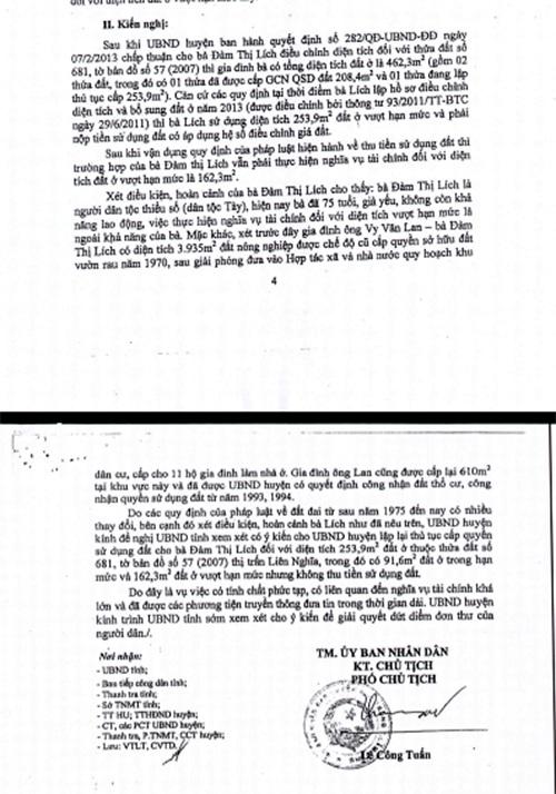 Báo cáo do ông Lê Công Tuấn ký về việc xin ý kiến của UBND tỉnh về giải quyết đơn của bà Đàm Thị Lích, trong đó UBND huyện đề nghị UBND tỉnh xem xét cho UBND huyện lập lại thủ tục cấp quyền sử dụng đất cho bà Đàm Thị Lích đối với diện tích 253,9m2 đất ở không thu tiền sử dụng đất.