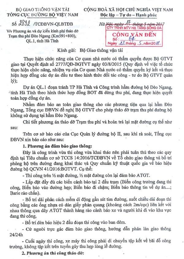 Tổng Cục đường bộ đã trình phương án tháo dỡ trạm thu phí Đèo Ngang hơn 7 tháng, nhưng đề xuất này vẫn chưa được Bộ GTVT phê duyệt.