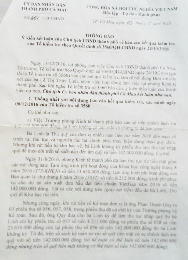 Thông báo ý kiến kết luận của Chủ tịch UBND TP Cà Mau, theo bà Linh có nhiều nội dung bà không đồng tình.