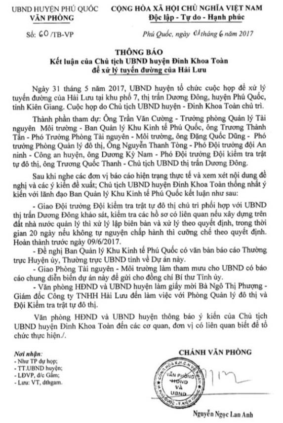 Tháng 6/2017, Chủ tịch UBND huyện Đinh Khoa Toàn giao cho Đội kiểm tra trật tự đô thị đến kiểm tra, nếu công trình sai phạm thì xử lý và tháo dỡ....