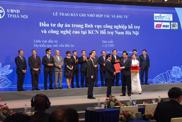 """UBND thành phố Hà Nội đã thống nhất cùng Công ty N&G và MBI ký kết Biên bản ghi nhớ tại Hội nghị """"Hà Nội 2017 - Hợp tác đầu tư và phát triển"""", diễn ra vào ngày 25/6."""