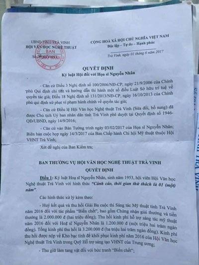 Quyết định kỷ luật họa sĩ Nguyễn Nhân của Hội Văn học Nghệ thuật tỉnh Trà Vinh.