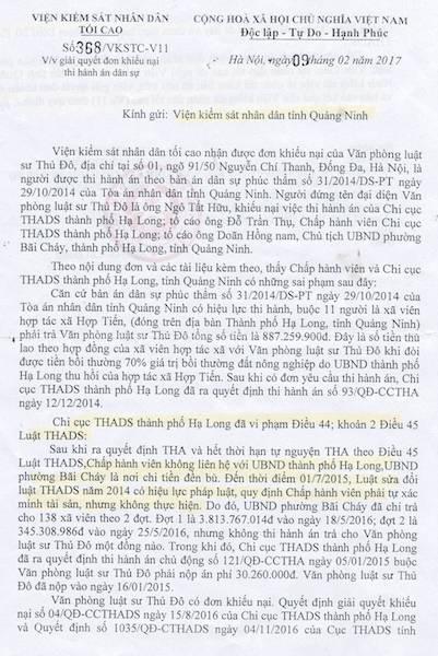 """Quảng Ninh: VKSND Tối cao xác định sai phạm trong vụ thi hành án kiểu """"sống chết mặc bay"""" - 1"""