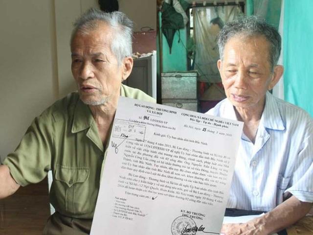 Hai lão nông tố tiêu cực trong việc làm hồ sơ người có công giả tại Bắc Ninh. (Ảnh: Pháp luật TP HCM).