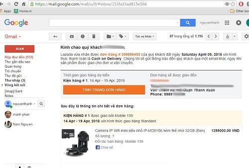 Email xác nhận đơn hàng giữa anh S với công ty Lazada Việt Nam.