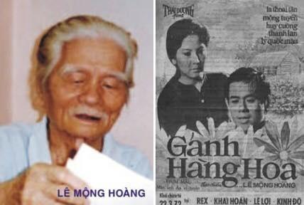 Đạo diễn Lê Mộng Hoàng tờ poster phim Gánh hàng hoa do ông đạo diễn. Ảnh: Gia đình cung cấp.
