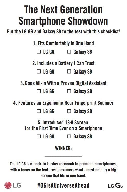 Tài liệu được LG gửi tới các phương tiện truyền thông nhằm so sánh LG G6 và dòng Galaxy S8 mới ra mắt của Samsung