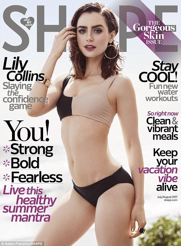 Lily Collins tự tin khoe dáng trên tạp chí Shape, số tháng 7/2017.
