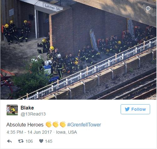 Một tài khoản Twitter có tên Blake đã ca ngợi những người lính cứu hỏa trong vụ cháy tháp Grenfell là những người hùng (Ảnh: Twitter)