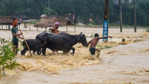 Những bức ảnh chụp hiện trường cho thấy đường xá và cầu đã gần như bị phá hủy khi ngập trong nước, gây khó khăn cho công tác cứu hộ.
