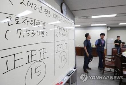 Kết quả bỏ phiếu nhất trí tăng lương tối thiểu lên 7.530 won từ năm 2018. Ảnh: Yonhap