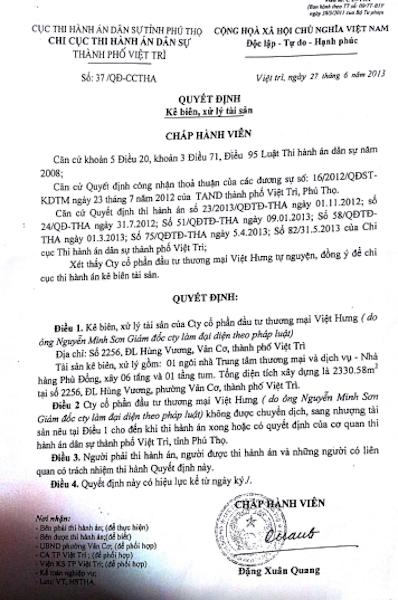 Quyết định kê biên, xử lý tài sản do chấp hành viên Đặng Xuân Quang ký.