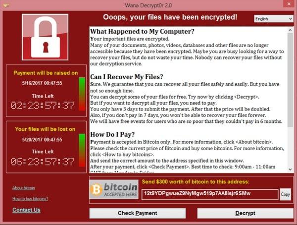 Giao diện mã độc tống tiền WannaCry, yêu cầu người dùng nộp 300USD để mở khóa các dữ liệu đã mã hóa