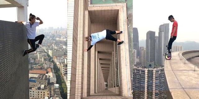 Ngô Vịnh Ninh nổi tiếng trên Internet với những màn diễn mạo hiểm chết người trên đỉnh những tòa nhà cao tầng