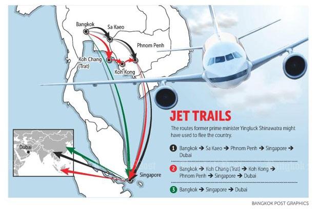 3 giả thuyết về hành trình trốn chạy của bà Yingluck. (Ảnh: Bangkok Post)