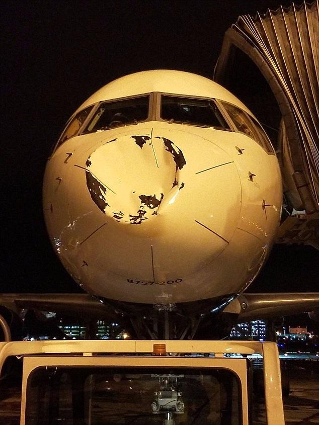 Đầu máy bay Boeing của hãng Delta tróc sơn, lõm vào bên trong. (Ảnh: Dailymail)