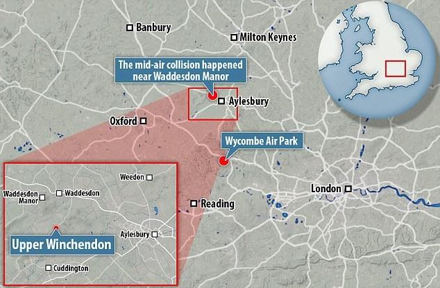 Bản đồ khu vực xảy ra vụ tai nạn máy bay ở Aylesbury, Buckinghamshire (Ảnh: Dailymail)