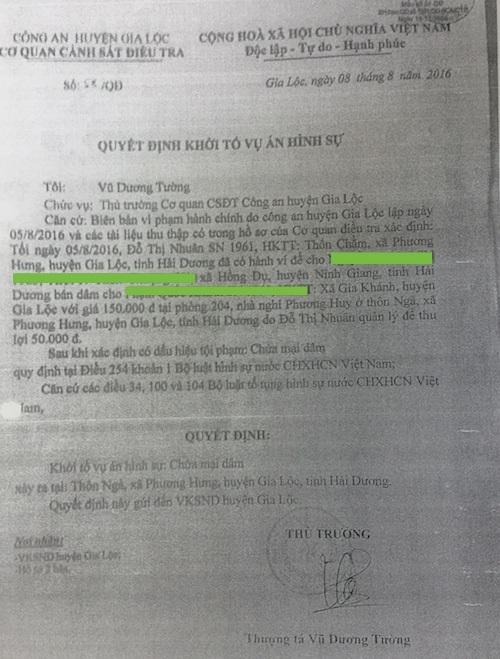 Quyết định khởi tố vụ án của Công an huyện Gia Lộc.