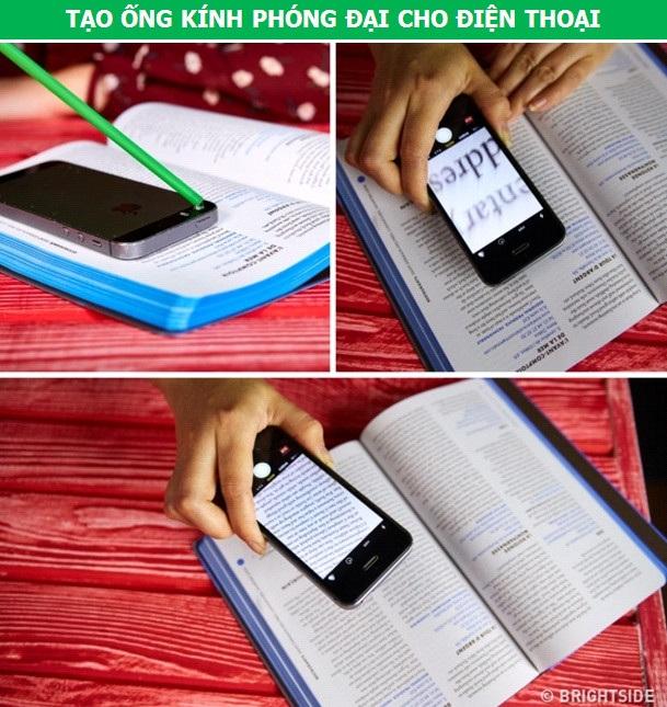 Nhỏ một giọt nước vào camera của điện thoại, chờ trong vòng một phút là bạn đã có một ống kính phóng đại cho chiếc smartphone của mình. Ống kính này sẽ cực kỳ hữu ích khi bạn muốn đọc những dòng chữ nhỏ trên trang sách hay thực hiện các kiểu ảnh macro.
