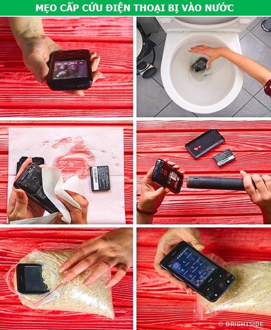 """Khi điện thoại bị """"đuối nước"""", hãy nhanh chóng tắt nguồn và tháo tung nó ra, đặc biệt là phần pin. Tiếp theo, dùng một chiếc khăn lau khô nước bám trên bề mặt thiết bị. Nếu có thể, hãy dùng máy sấy để sấy khô từng bộ phận của máy ở mức nhiệt thấp nhất. Cuối cùng, vùi điện thoại vào trong hũ gạo qua đêm, để các hơi ẩm còn len lỏi có thể bị hút sạch."""