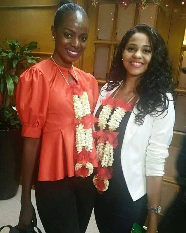 Hoa hậu Kenya - Mary Esther Were và Hoa hậu Tanzania - Jihan Dimachk gặp nhau tại Manila, Philippines.