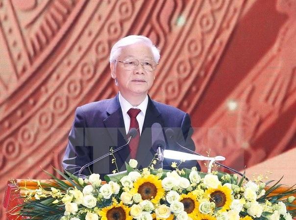 Tổng Bí thư Nguyễn Phú Trọng phát biểu. (Ảnh: Doãn Tấn/TTXVN)