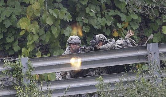 Binh sĩ Mỹ tham dự cuộc tập trận chung với Hàn Quốc tại TP Pocheon. Ảnh: AP